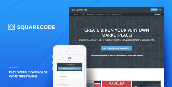 squarecode digital download wordpress theme